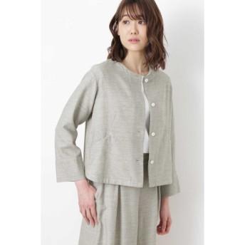 HUMAN WOMAN / ≪Japan couture≫撚杢コットンツイルブラウス