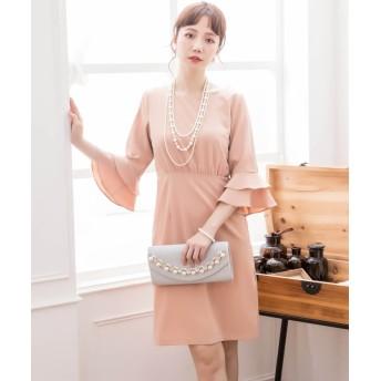 ドレス スター ラッフル袖シンプルパーティードレス レディース ピンク XLサイズ 【DRESS STAR】