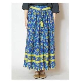 【チャイハネ】更紗風プリントロングスカート ブルー