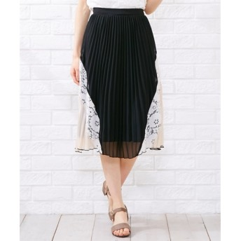 レース切替プリーツスカート【INCEDE】 (大きいサイズレディース)スカート,plus size