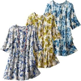 チュニック ベルーナ 【3色組】夏の花柄フレアーチュニック 1 L レディース