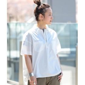 BEAMS BOY / ハーフジップ ワーク ショートスリーブ レディース カジュアルシャツ WHITE ONE SIZE