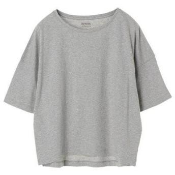 アースミュージックアンドエコロジー earth music&ecology オーガニックコットンビッグクルーネックTシャツ (Gray Mixture