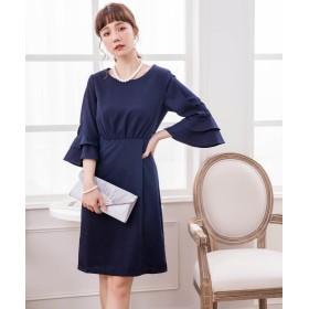 ドレス スター ラッフル袖シンプルパーティードレス レディース ネイビー XLサイズ 【DRESS STAR】