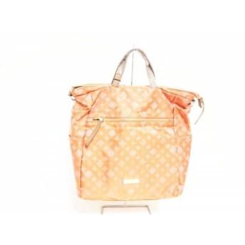 【中古】 ラシット russet ハンドバッグ 美品 オレンジ ピンク ダークブラウン 3way ナイロン レザー