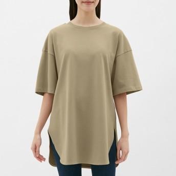 (GU)ヘビーウェイトオーバーサイズT(5分袖) BEIGE XL