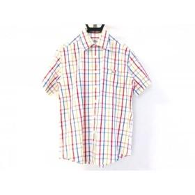 【中古】 ラコステ Lacoste 半袖シャツ サイズ3 L メンズ 白 マルチ チェック柄
