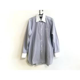【中古】 ダンヒル dunhill/ALFREDDUNHILL 長袖シャツ メンズ 美品 白 ネイビー ストライプ