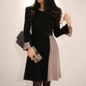 バイカラー ワンピース プリーツ スカート ミニスカート フリル袖 ボリューム袖 長袖 レディース 韓国 ファッション
