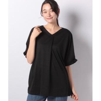 ラナン タックデザインブラウス風Tシャツ レディース ブラック M 【Ranan】