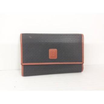 【中古】 バリー BALLY 3つ折り財布 黒 ブラウン 型押し加工 PVC(塩化ビニール) レザー