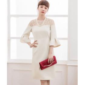 ドレス スター オフショルダー風レースパーティードレス レディース ベージュ XLサイズ 【DRESS STAR】