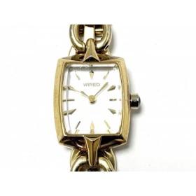 【中古】 ワイアード WIRED 腕時計 1N01-0PA0 レディース シェル文字盤 白