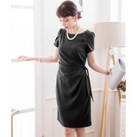 ドレス スター ペタル(チューリップ)スリーブサイドリボンドレーブワンピース レディース ブラック XXLサイズ 【DRESS STAR】