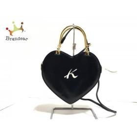 キタムラ KITAMURA ハンドバッグ ネイビー×アイボリー×ゴールド ハート レザー×金属素材 新着 20190408