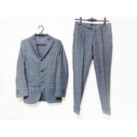 【中古】 ボリオリ BOGLIOLI シングルスーツ サイズ42 XS メンズ グレー ライトグレー チェック柄