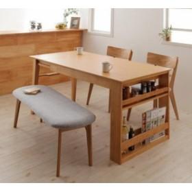ダイニングテーブルセット/4人掛け/天然オーク材スライド式伸縮テーブルリビング/4点ベンチ fta01