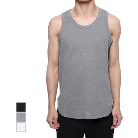タンクトップ - Style Block MEN カットソー タンクトップ インナー ビックシルエット ロング丈 ベーシック トップス メンズ ブラック 杢グレー ホワイト 夏先行