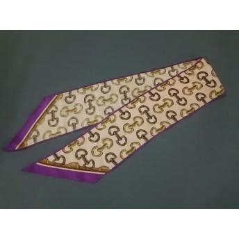 【中古】 グッチ GUCCI スカーフ 美品 ピンク パープル ライトブラウン ホースビット