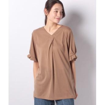 ラナン タックデザインブラウス風Tシャツ レディース キャメル L 【Ranan】