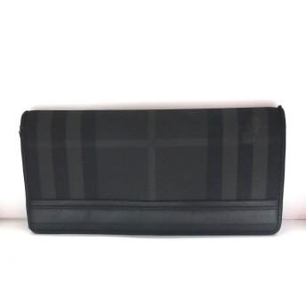 【中古】 バーバリー Burberry 長財布 黒 グレー チェック柄 PVC(塩化ビニール) レザー