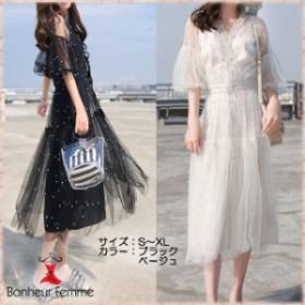 韓国 ファッション レディース ワンピース 夏 カジュアル ふんわりシフォン シースルー オルチャン ファッション ワンピース