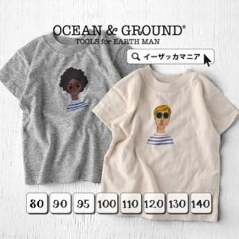 Tシャツ トップス カットソー ロゴT 綿100 夏新作 OCEAN & GROUND 【メール便可10】 [キッズ]サングラスマン プリント Tシャツ
