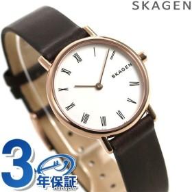 スカーゲン 腕時計 レディース シグネチャー 革ベルト SKW2760 ホワイト×ダークブラウン SKAGEN 時計 新品