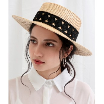 ANAP(アナップ)レース帯ストローカンカン帽
