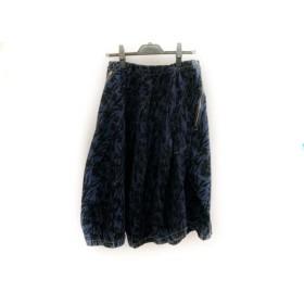 【中古】 メルシーボークー ロングスカート サイズ2 M レディース ネイビー 黒 デニム/花柄