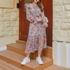 ワンピース ドレス 花柄 ヴィンテージ フラワー ネックライン ネクタイ ロング フィッシュテール レディース 春 おしゃれ 大