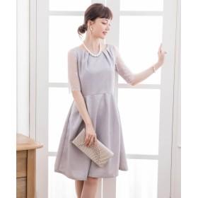 ドレス スター レーススリーブAラインフレアワンピース レディース グレー Mサイズ 【DRESS STAR】