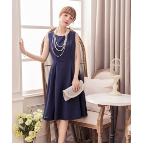 ドレス スター Aラインフレアノースリーブワンピース レディース ネイビー Sサイズ 【DRESS STAR】