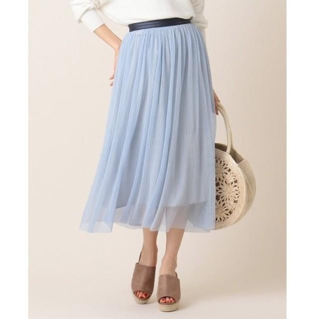 L size ONWARD(大きいサイズ) / エルサイズオンワード 【洗える】チュールドットプリーツスカート