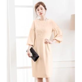 ドレス スター ふんわりバルーンスリーブワンピース レディース ベージュ XLサイズ 【DRESS STAR】