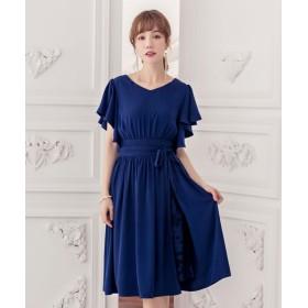 ドレス スター ウエストリボン付き巻きスカート風デザインフレアスリーブギャザーワンピース レディース ネイビー XLサイズ 【DRESS STAR】