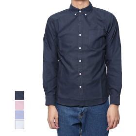 シャツ - Style Block MEN シャツ カジュアルシャツ ボタンダウン オックスフォードシャツ 長袖 無地 トップス メンズ ネイビー ピンク サックス ホワイト夏先行