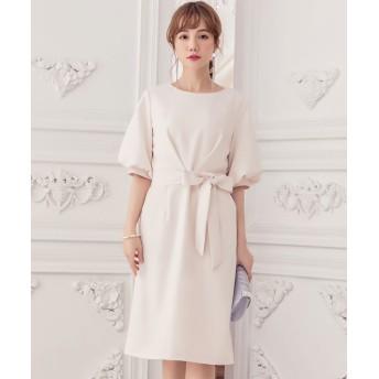ドレス スター ふんわりバルーンスリーブ&ウエストリボン付きワンピース レディース アイボリー XLサイズ 【DRESS STAR】