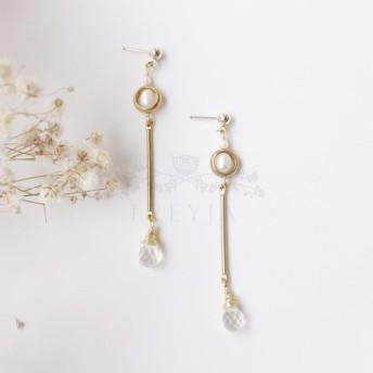 【K14GFイヤーピン×真鍮×天然真珠ドロップイヤリング】(ホワイトクリスタル)