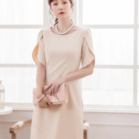 4402a92aef2cb (DRESS STAR ドレス スター)ペタル(チューリップ)スリーブシンプルワンピース レディース
