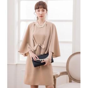 ドレス スター ケープ風デザインウエストリボンワンピース レディース ナチュラル XXLサイズ 【DRESS STAR】