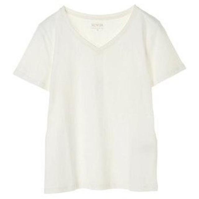 アースミュージックアンドエコロジー earth music&ecology オーガニックコットンVネックTシャツ (Off White)