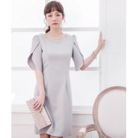 ドレス スター ペタル(チューリップ)スリーブシンプルワンピース レディース グレー XXLサイズ 【DRESS STAR】