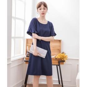 ドレス スター 袖縁フリルシンプルワンピース レディース ネイビー Lサイズ 【DRESS STAR】
