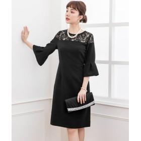 ドレス スター オフショルダー風レースパーティードレス レディース ブラック Mサイズ 【DRESS STAR】