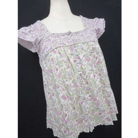 ■【Bon Vieux Temps/ボンビュータン】半袖 シャツ カットソー 小花柄 白 ピンク 紫 緑 1