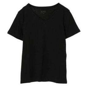 アースミュージックアンドエコロジー earth music&ecology オーガニックコットンVネックTシャツ (Black)
