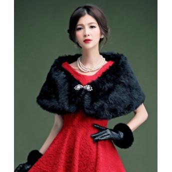 ドレス スター ブローチ付きフェイクファーパーティーショール レディース ブラック フリーサイズ 【DRESS STAR】