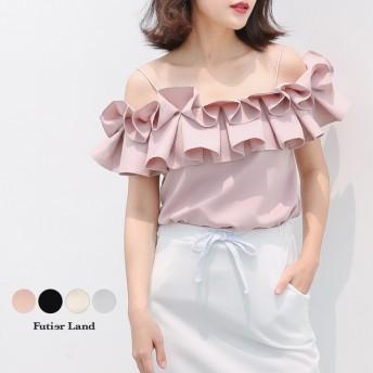 【即納】【新作】 キャミソール フリル トップス 韓国 ファッション / ボリュームフリルキャミソール