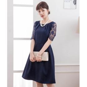 ドレス スター レーススリーブAラインフレアワンピース レディース ネイビー XLサイズ 【DRESS STAR】